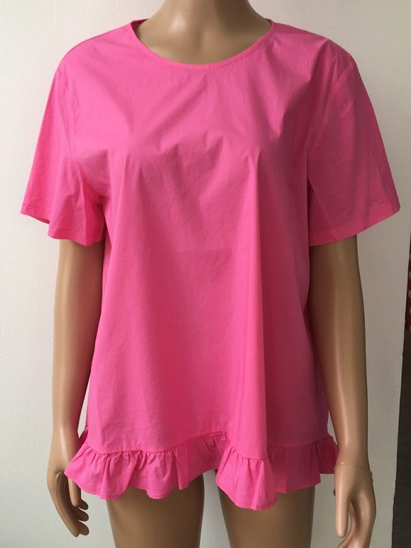 European Culture Shirt mit Volants Pink