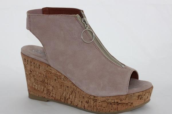 shoe biz copenhagen wedges sandale in rose mit korksohle. Black Bedroom Furniture Sets. Home Design Ideas