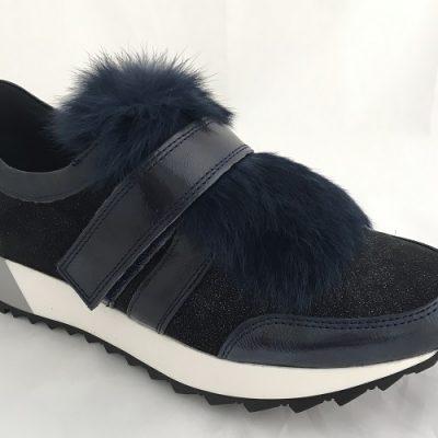 Kanna Dunkel Blauer Sneaker mit Pelz