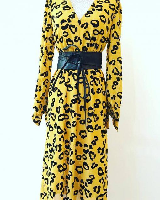 Kleid mit Leo Print Curry